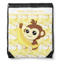 Cute Kawaii monkey holding banana Drawstring Bag