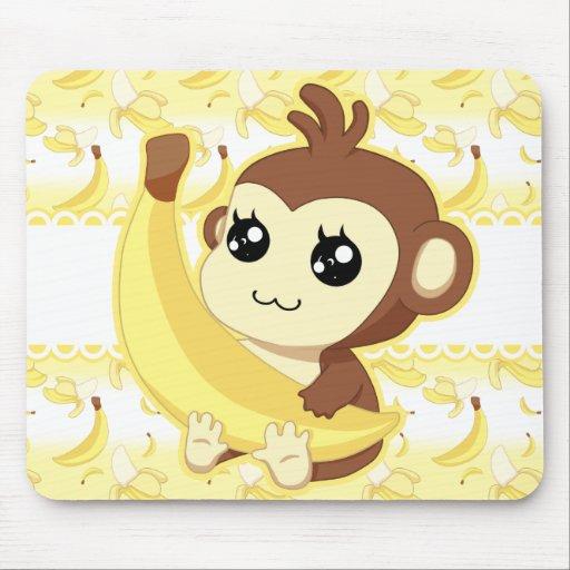 Cute kawaii monkey holding banana mouse pad zazzle