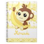 Cute Kawaii Monkey Holding Banana Notebook at Zazzle