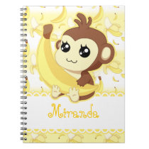 Cute Kawaii monkey holding banana Notebook