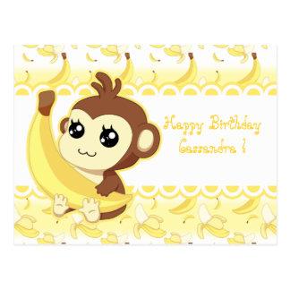 Cute Kawaii monkey holding banana Post Cards
