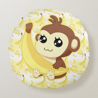 Cute Kawaii monkey holding banana Round Pillow