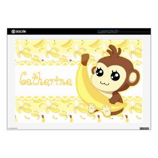 Cute Kawaii monkey holding banana Skin For Laptop