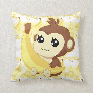 Cute Kawaii monkey holding banana Throw Pillow