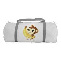 Cute Kawaii monkey holding banana with name Duffle Bag