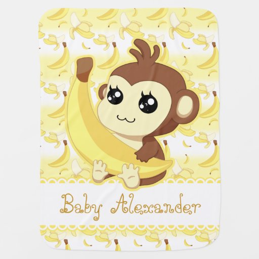 Cute Kawaii monkey holding banana Baby Blanket