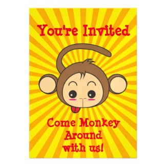 Cute Kawaii Monkey Illustration Birthday Party Card