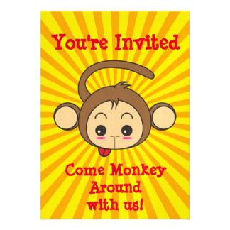 Cute Kawaii Monkey Illustration Birthday Party Card