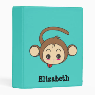 Cute Kawaii Monkey Illustration Personalized Mini Binder