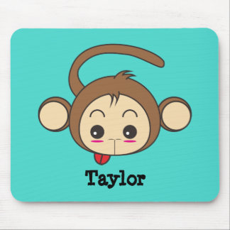 Cute Kawaii Monkey Illustration Personalized Mouse Pad