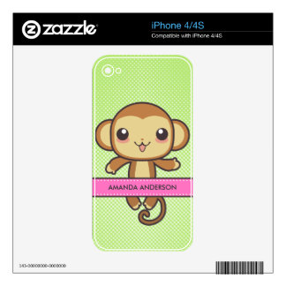 Cute Kawaii Monkey Personalized iPhone 4 Skin
