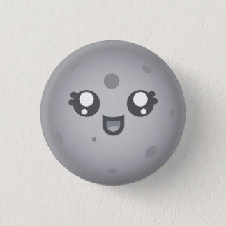 Cute Kawaii Moon Luna Character Pinback Button