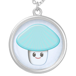Cute Kawaii Mushroom Cartoon Character Silver Plated Necklace