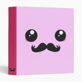 Cute Kawaii Mustache 3 Ring Binder