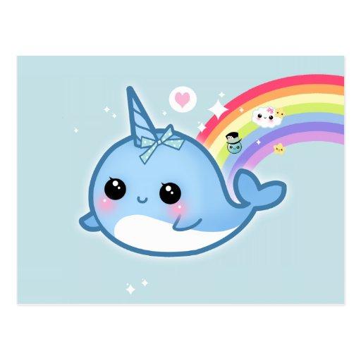 Rainbow Animated Narwhals Cute kawaii narwhal wi...