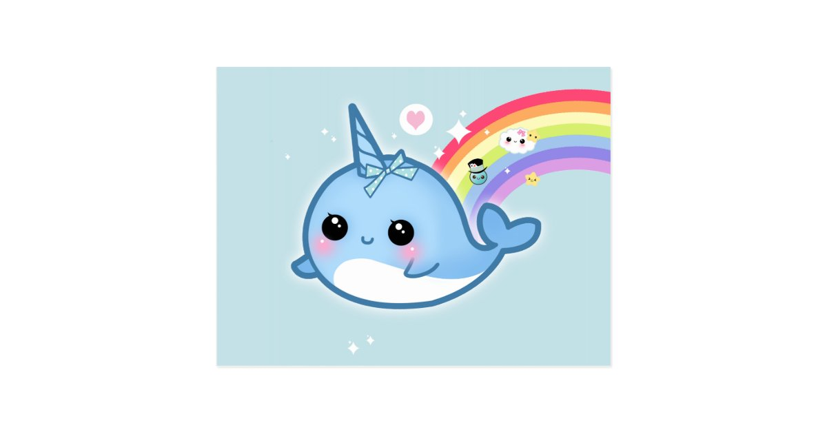 Cute Kawaii Narwhal With Rainbow And Sparkle Stars