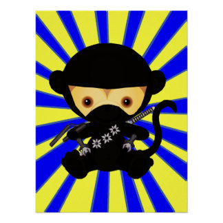 Cute kawaii ninja monkey poster