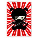 Cute Kawaii Ninja Puppy Dog on Red Greeting Card