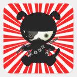 Cute Kawaii Ninja Puppy Dog on Red Square Sticker