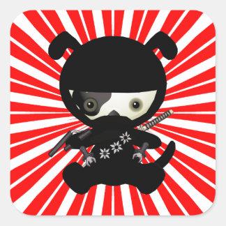 Cute Kawaii Ninja Puppy Dog on Red Square Stickers