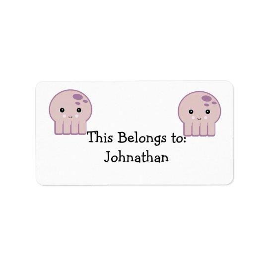 cute kawaii octopus label