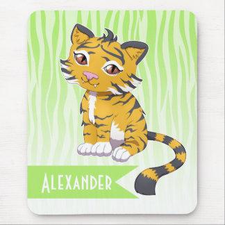 Cute Kawaii orange Tiger with custom name Mouse Pad