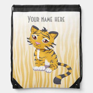 Cute Kawaii orange Tiger with custom name Cinch Bags