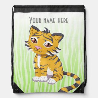 Cute Kawaii orange Tiger with custom name Drawstring Bags