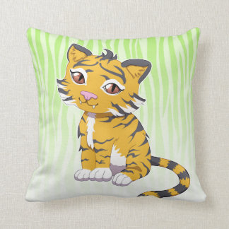Cute Kawaii orange Tiger with custom name Throw Pillow