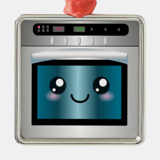 Cute Kawaii Oven - Chef & Baker Gifts Square Metal Christmas Ornament