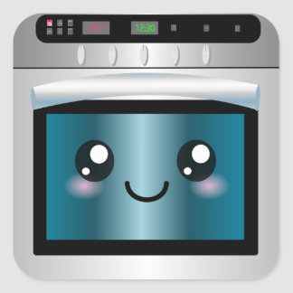 Cute Kawaii Oven - Chef & Baker Gifts Square Sticker