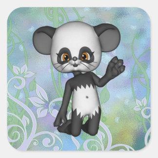 Cute Kawaii Panda Bear Square Sticker