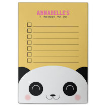 Cute Kawaii Panda Face Kids To Do List Post-it Notes