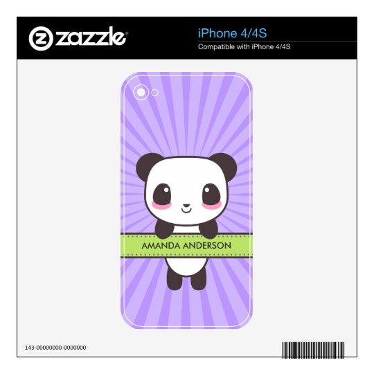 Cute Kawaii Panda Personalized iPhone 4 Skin