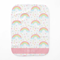 Cute Kawaii Pastel Rainbow Stars Cloud Soft Colors Baby Burp Cloth