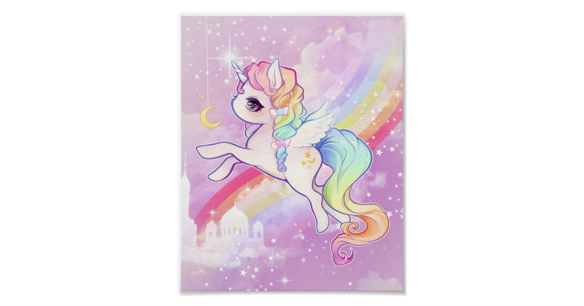 cute kawaii pastel unicorn with rainbow and castle poster rc8116064f4d34ef7bcaaf9a631c1cb16 rjc 8byvr 630