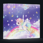 """Cute kawaii pastel unicorn with rainbow galaxy binder<br><div class=""""desc"""">This design features a cute pastel unicorn with rainbow,  stars,  moons and hearts on purple blue glaxy background. Designed by www.chibibunny.com</div>"""