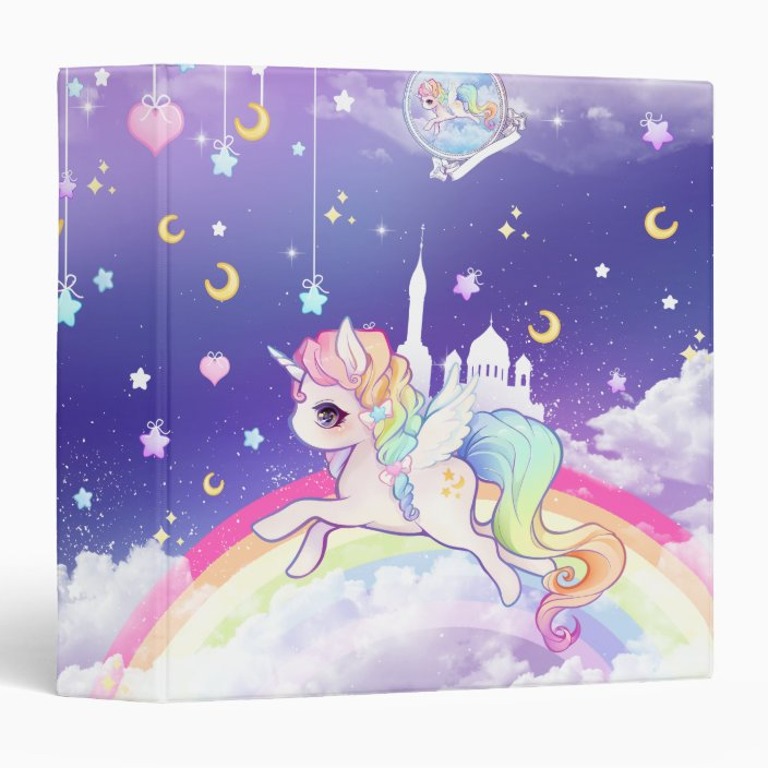 cute kawaii pastel unicorn with rainbow galaxy binder