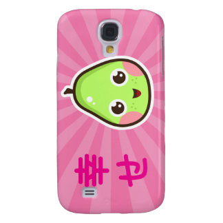 Cute kawaii pear iPhone case with pink background
