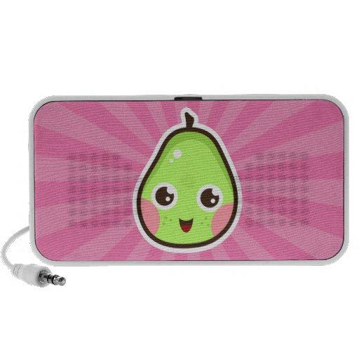 Cute kawaii pear on pink sunburst doodle speakers