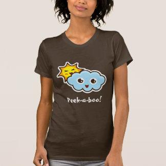 Cute kawaii peek-a-boo sun and cloud t-shirt