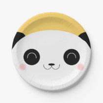 Cute Kawaii Peekaboo Blushing Panda Face Paper Plate