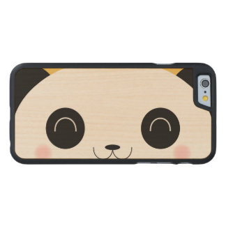 Cute Kawaii Peekaboo Panda Face Carved Maple iPhone 6 Case