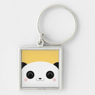 Cute Kawaii Peekaboo Panda Face Silver-Colored Square Keychain
