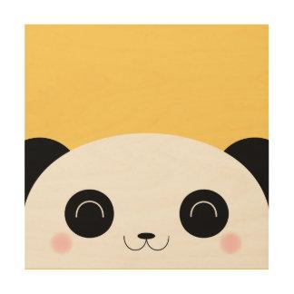 Cute Kawaii Peekaboo Panda Face Yellow Wood Wall Art