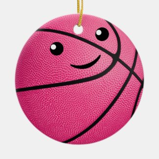 cute kawaii personalized girls basketball ceramic ornament