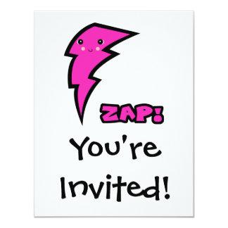 Cute Kawaii Pink and Black Zap Lighting Bolt Card