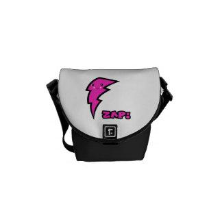 Cute Kawaii Pink and Black Zap Lighting Bolt Courier Bag