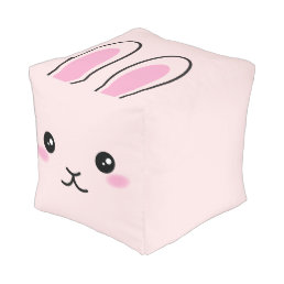 Cute, kawaii, pink bunny design pouf