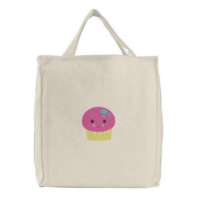 cute kawaii pink cupcake embroidered bag